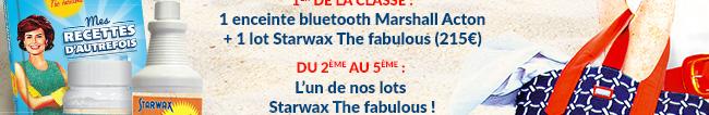 1 enceinte bluetooth Marshall + 1 lot Starwax Th fabulous