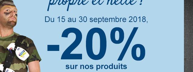 Du 15 au 30 septembre 2018, -20% sur nos produits